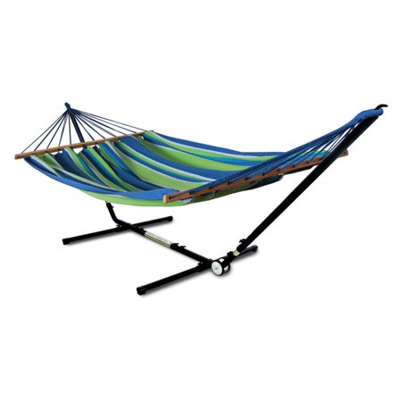 Hammaka Woven Hammock with Adjust to Fit Stand Made of a tightly woven polyester and cotton blend, the Hammaka Woven Hammock with Adjust to Fit Stand offers endless relaxation along with cool, breathable comfort as you sway your stress away. This stylish woven hammock is featured in your choice of available color. The unique and sturdy stand features adjustable width and height options for the ideal fit. Hammaka Hammaka products, now brought to you by King's Pond, are designed to provide a comfortable getaway from all of life's stresses. It all started with the Original Hammaka Hammock Chair, but the wide variety of luxurious chairs is constantly growing in order to give you the perfect fit. You can also put your mind at ease, as well as your body, knowing that Hammaka has gone green by using renewable materials and environmentally responsible manufacturing processes committed to recycling and energy conservation.