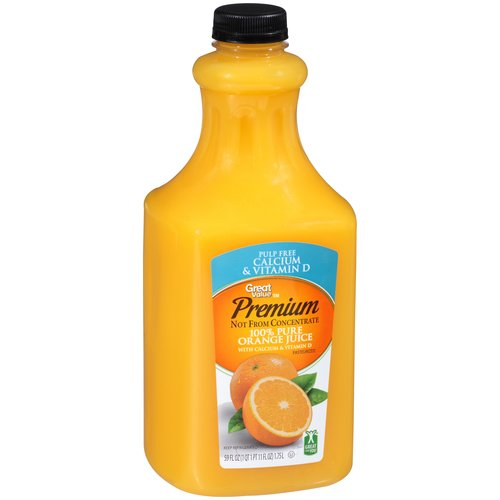 Great Value 100% Pure Pulp Free With Calcium Orange Juice, 59 oz