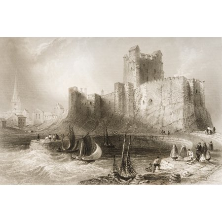 Carrickfergus Castle County Antrim Ireland Drawn By WHBartlett Engraved By JCArmytageFrom The Scenery And Antiquities Of Ireland By NPWillis And JStirling CoyneIllustrated From Drawings By WHBartlett