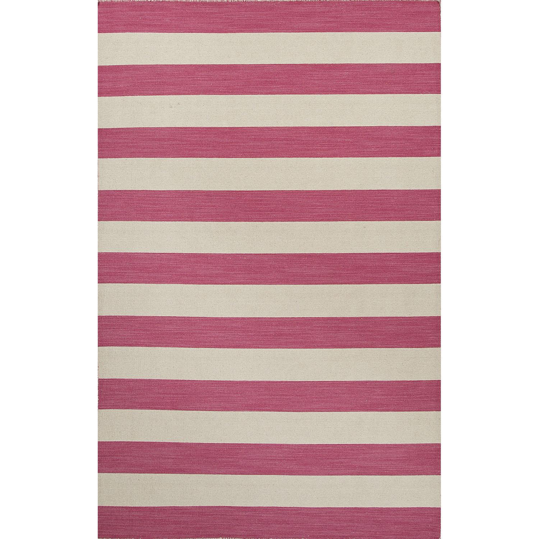 Flatweave Stripes Pattern Pink/Ivory  Wool Area Rug (9x12)