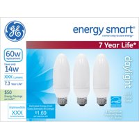 GE energy smartᅡᆴ CFL 14 wattDaylight Deco Medium base 3-pack