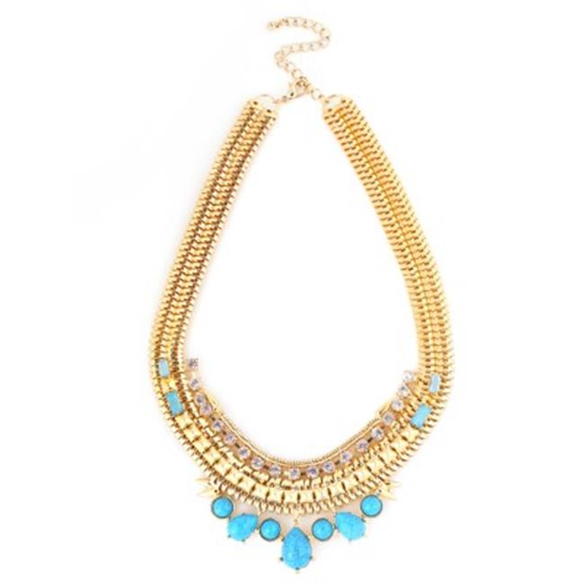 C Jewelry Gold Multicolor Metal Turquoise And White Crystal Necklace And Earring Set