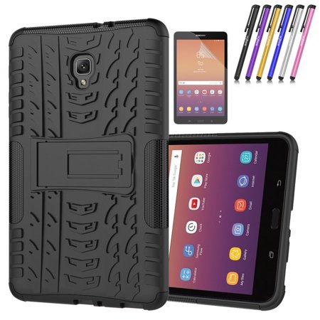 Goldcherry for Galaxy Tab A 9.7 Case Hybrid Armor with Stand Feature Detachable Dual Layer Protective Shell Hard Back Cover for 2015 Galaxy Tab A Tablet 9.7 inch (SM-T550 /P550)(Black) Plastic Back Stand Case Cover