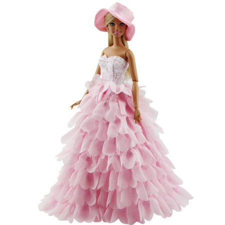 Pink Dress with Hat Evening Princess Party Clothes Wears Dress Outfit Set for Barbie Doll