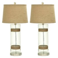 Decmode Glass Metal and Jute Table Lamp, Multi Color
