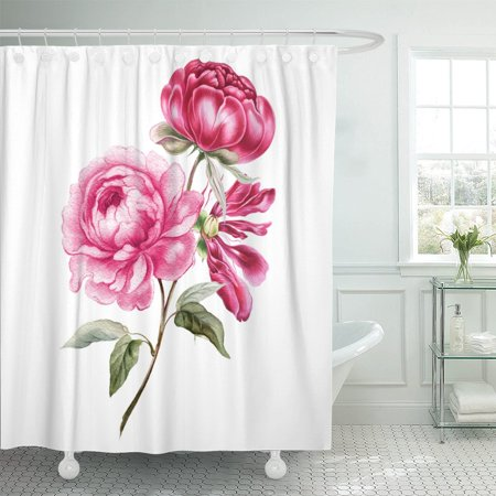 PKNMT Green Flower Branch Of Pink Peonies Red Leaves Peony Shower Curtain 60x72 Inches