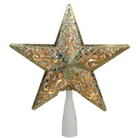 """8.5"""" Gold Glitter Star Cut-Out Design Christmas Tree Topper - Clear Lights"""