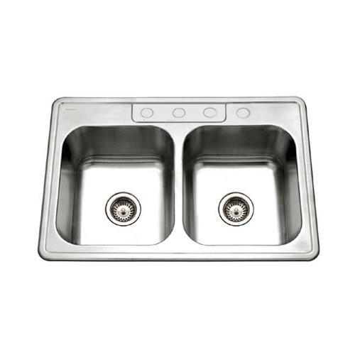 Houzer Glowtone 3322-9BS4-1 Double Basin Drop In Kitchen Sink