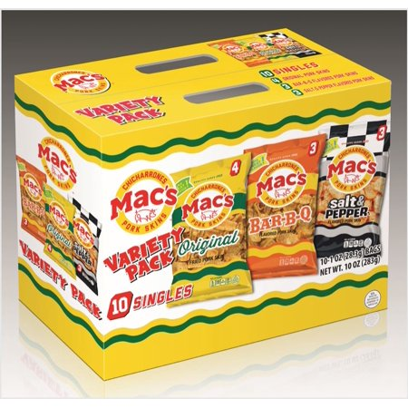 Mac's Original, BBQ, & Salt & Pepper Pork Skin Variety Pack, 1 oz, 10 (Best Way To Eat Pork Rinds)