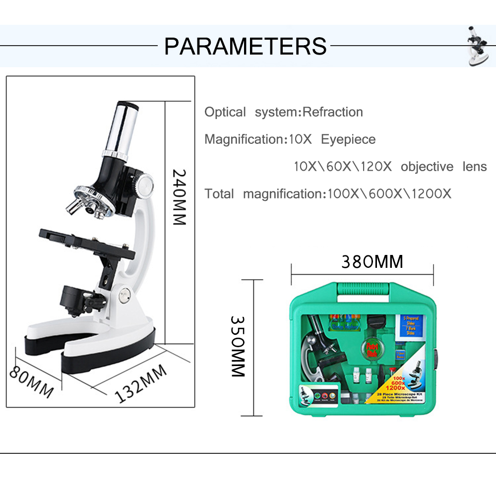DEALPEAK Aluminum Alloy Kids Biological Microscope 1200X Magnification with Accessories Set for Student Children Science Adventure