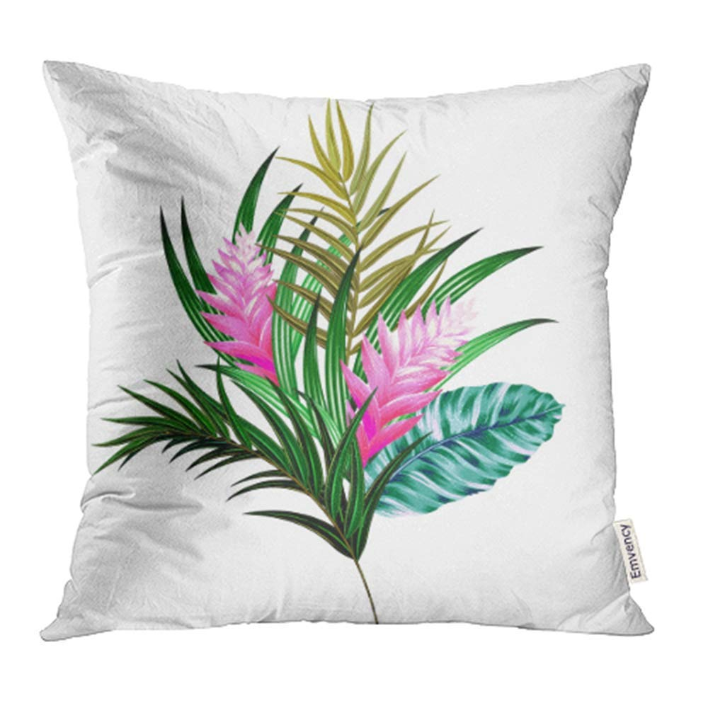 ARHOME Bouquet with Tropical Flowers Retro Hawaiian Floral Arrangement with Beautiful Pillowcase Cushion Cover 16x16 inch