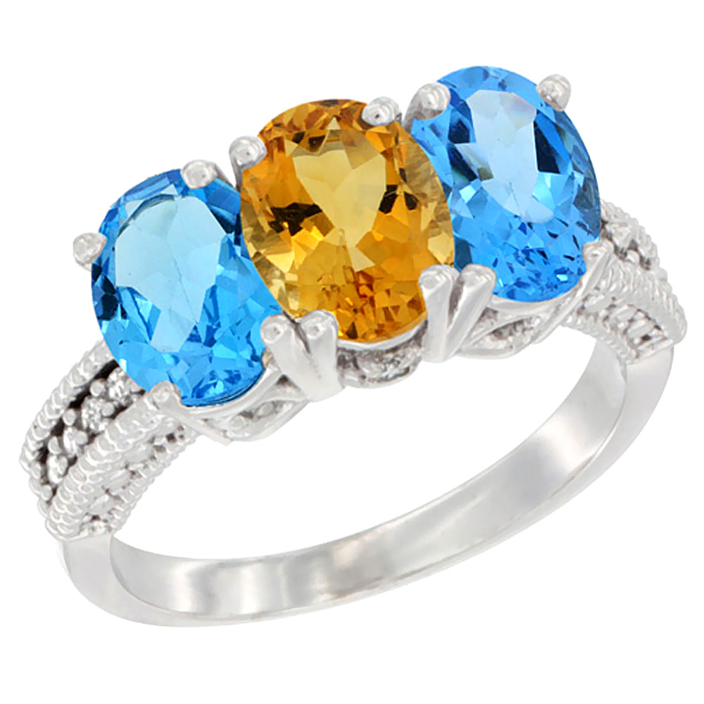 10K White Gold Natural Citrine & Swiss Blue Topaz Sides Ring 3-Stone Oval 7x5 mm Diamond Accent, sizes 5 10 by WorldJewels