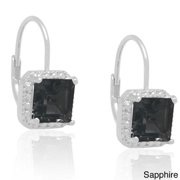 Silverplated Gemstone and Diamond Accent Earrings