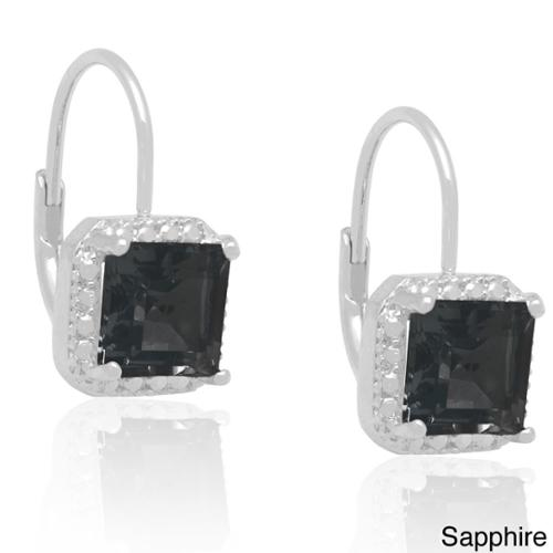 Dolce Giavonna  Silverplated Gemstone and Diamond Accent Earrings September Sapphire