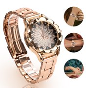 Women's Stainless Steel Quartz Watch, TSV Crystal Flower Women Watches with Magnet Clasp, Easy Adjustable, Fashionable Elegant Watch Gift, Rose Gold