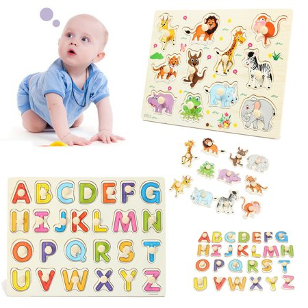 Wooden Zoo Animal / Alphabet ABC Peg Jigsaw Puzzle Toy Toddlers Early Learning Educational Plate Gift