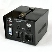 Goldsource STU-N Series 1000 W Heavy-duty AC 110/220V Step Up / Down Voltage Transformer / Converter with US Standard, Universal, German/French Schuko AC Outlets & DC 5V USB Port - 1,000 Watt