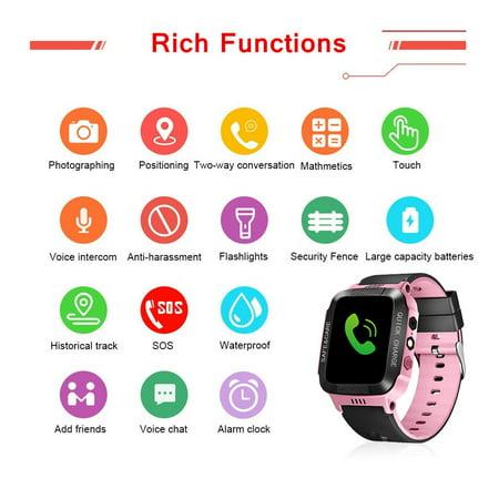 Smart Watch Kids Wristwatch Touch Screen GPRS Locator Tracker Anti-Lost SOS Call (Black&Pink)