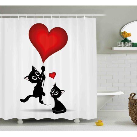 Valentines Day Decor Shower Curtain, Baby Cats Holding Heart Shaped Baloons Romance Love Themed Image, Fabric Bathroom Set with Hooks, 69W X 70L Inches, Red and Black, by Ambesonne (C Shaped Shower)