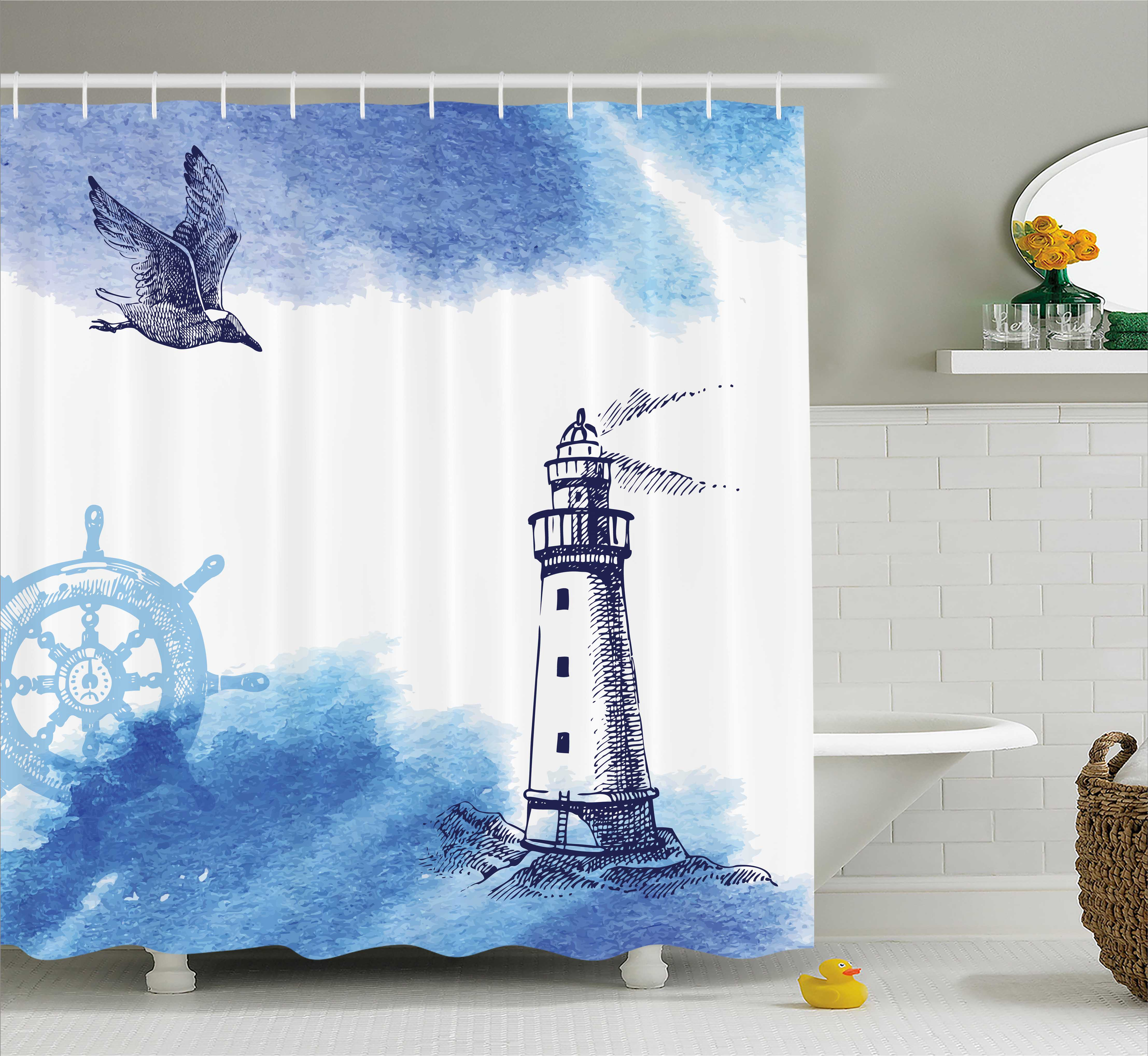 Farm House Decor Shower Curtain, Nostalgic Watercolors with Gull Ancient Anchor Lighthouse Nautical Theme , Fabric Bathroom Set with Hooks, 69W X 84L Inches Extra Long, Blue White, by Ambesonne