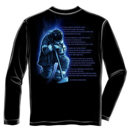Fireman's Prayer Long Sleeve T-shirt by , Black](Prayer Log)
