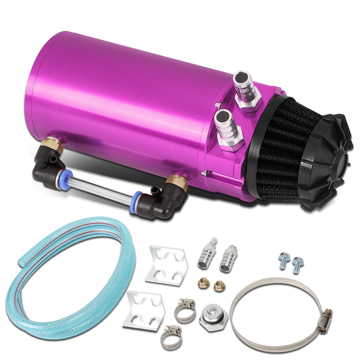 Universal Aluminum Oil Reservoir Catch Can Tank w/Breather Filter Baffled (Purple)