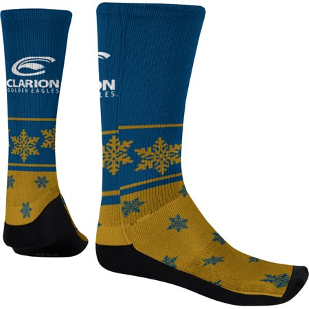 Men's Clarion University Ugly Holiday Snowflake Sublimated Socks (Apparel)