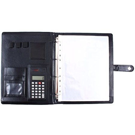 Executive Folder - A4 Conference Portfolio Folder with Calculator, PU Leather Executive Business Note Book Calculator Folder Organiser with Pen Slot/Card Slots/Pad/Paper