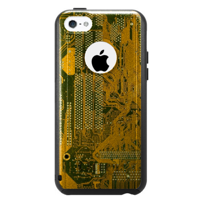 DistinctInk™ Custom Black OtterBox Commuter Series Case for Apple iPhone 5C - Yellow Circuit Board