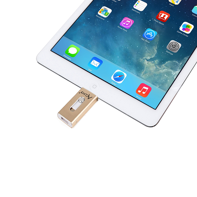 Acuvar 64GB Mobile USB Flash Drive for iPhone, iPad and Most USB Enabled  Devices for Data Transfer and Backup (Gold)