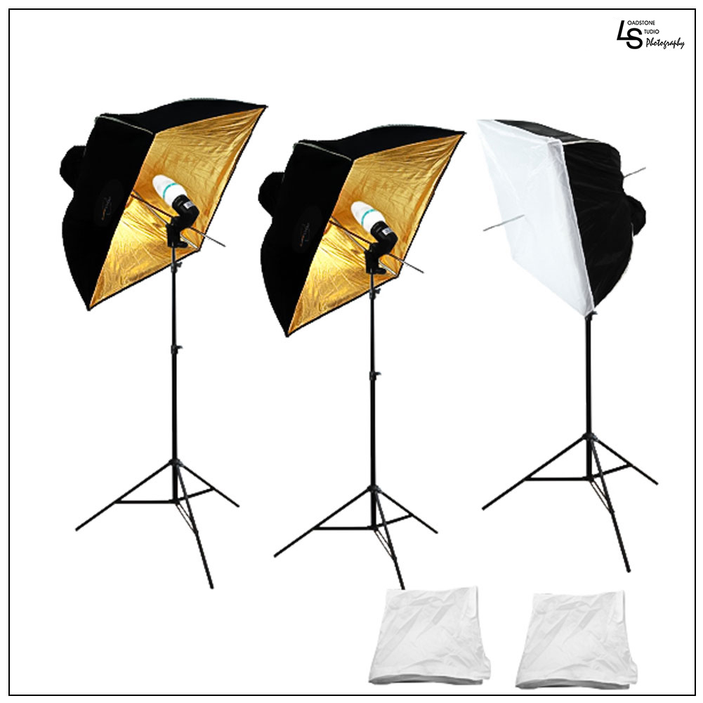 Triple Umbrella Softbox Lighting Kit with 3 Heavy Duty Light Stands, 3 CFL Bulbs for Photography Lighting by Loadstone Studio WMLS1059