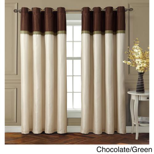 VCNY Westin Interlined Room Darkening Grommet 84-inch Curtain Panel Blue/Chocolate