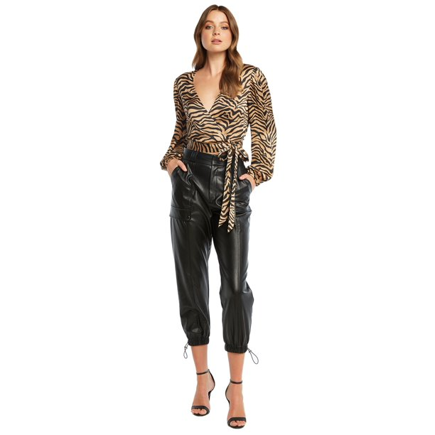 best women's black dress pants : Women's PU Riley Leather Cargo Pants