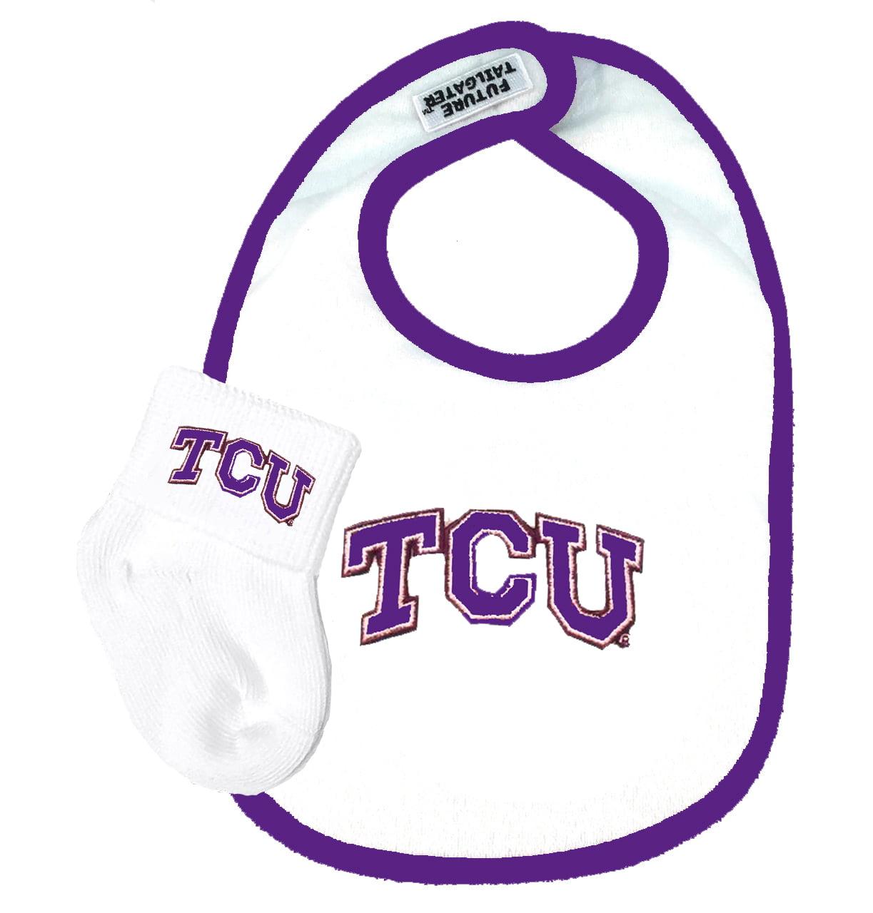Texas Christian TCU Horned Frog Baby Bib and Socks Set
