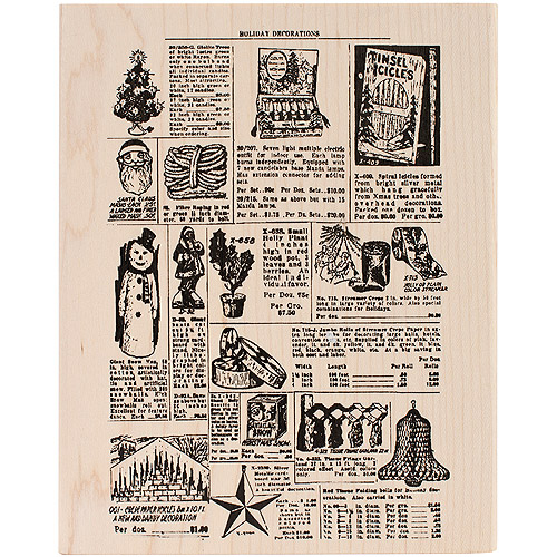 "Tim Holtz Mounted Red Rubber Stamp, 5"" x 6.5"", Holiday Catalog"