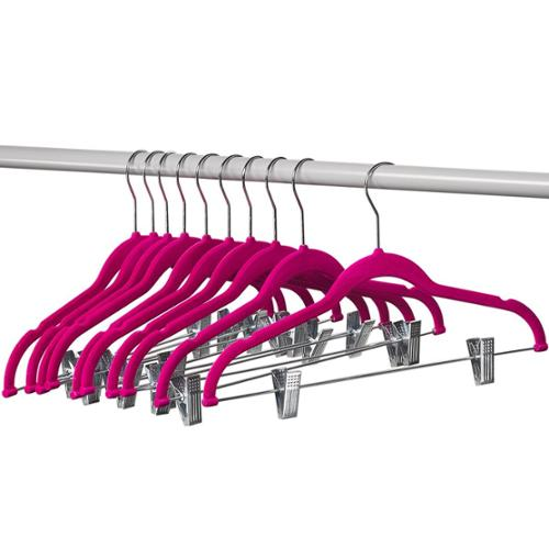 Home-it 10 Pack Clothes Hangers with clips PINK Velvet Hangers use for skirt hangers Clothes Hanger pants hangers