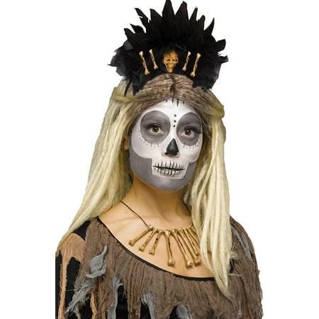 Halloween Cavewoman (Voodoo Queen Stone Age Bones Headband Skull Caveman Cavewoman Costume)