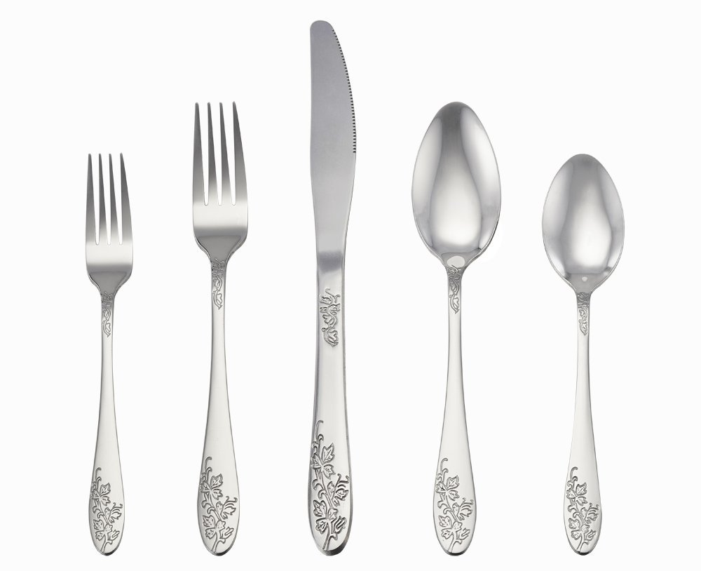 20-Piece Silverware Set, Stainless Steel Flatware Cutlery Set for 4 People, Mirror Finish & Elegant Embossed... by