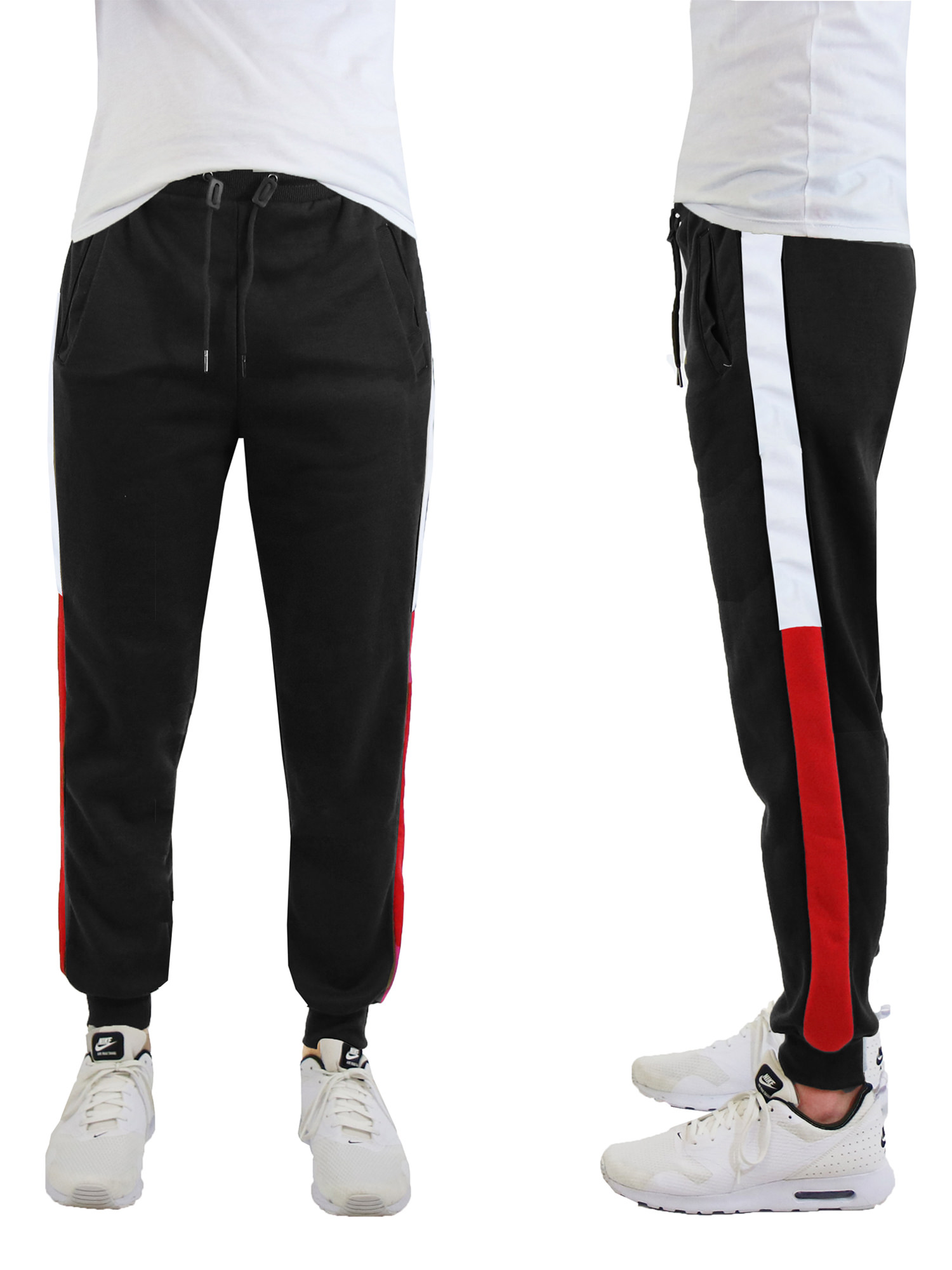 Men's Fleece Jogger Sweatpants With Contrast Side Trim