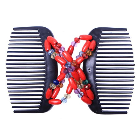 Retro Wooden Beads Magic Hair Comb Double Row Hairpin Insert Women Hairstyle Clip - image 2 of 7