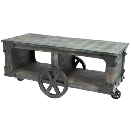 Rustic Industrial Style Wagon, Large Coffee Table with Shelf and Wheels ()