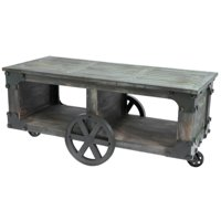 Rustic Industrial Style Wagon, Large Coffee Table with Shelf and Wheels