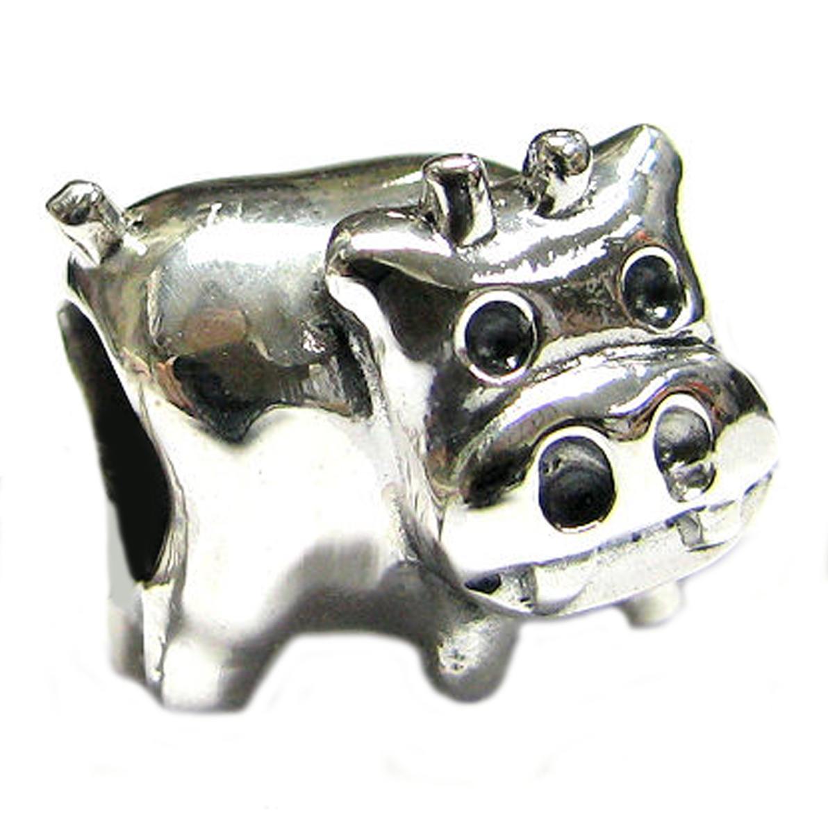 Queenberry Sterling Silver Cow European Style Bead Charm Fits Pandora