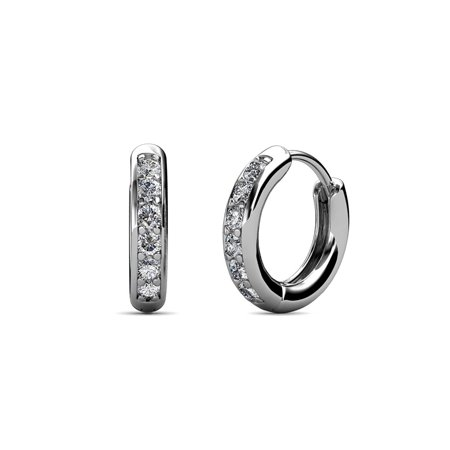 - Petite Diamond Huggies Hoop Earrings (SI2-I1, G-H) 0.24 Carat tw in 14K White Gold