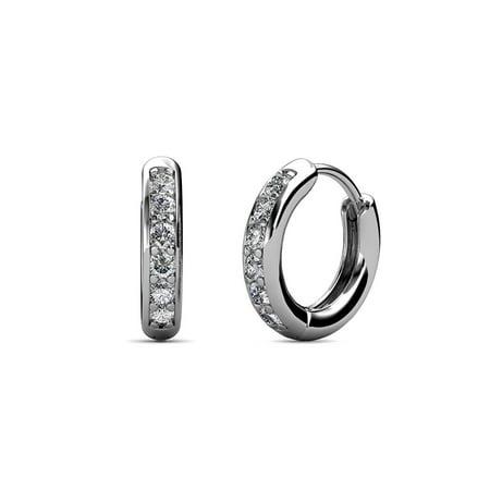 Petite Diamond Huggies Hoop Earrings (SI2-I1, G-H) 0.24 Carat tw in 14K White Gold Fashionable Diamond Huggie Earrings