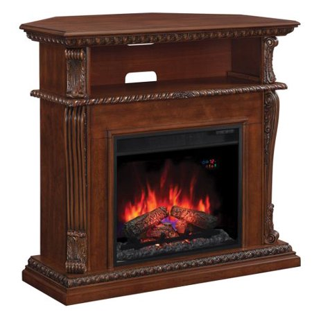 Corinth Wall / Corner TV Stand w/23″ Elec. Fireplace, Burnished Walnut