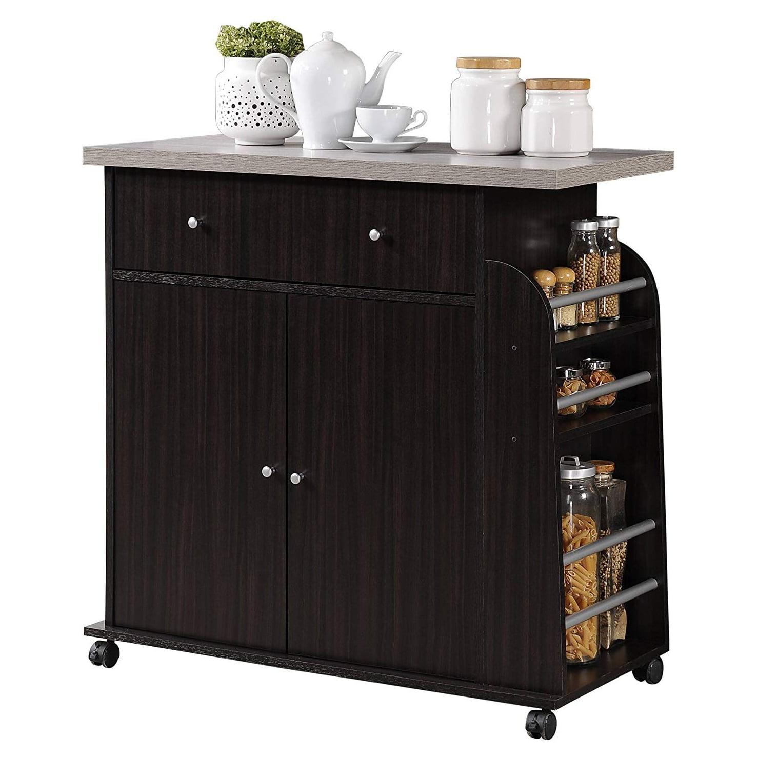 Hodedah Kitchen Island Cabinet Drawer Storage with Spice ...