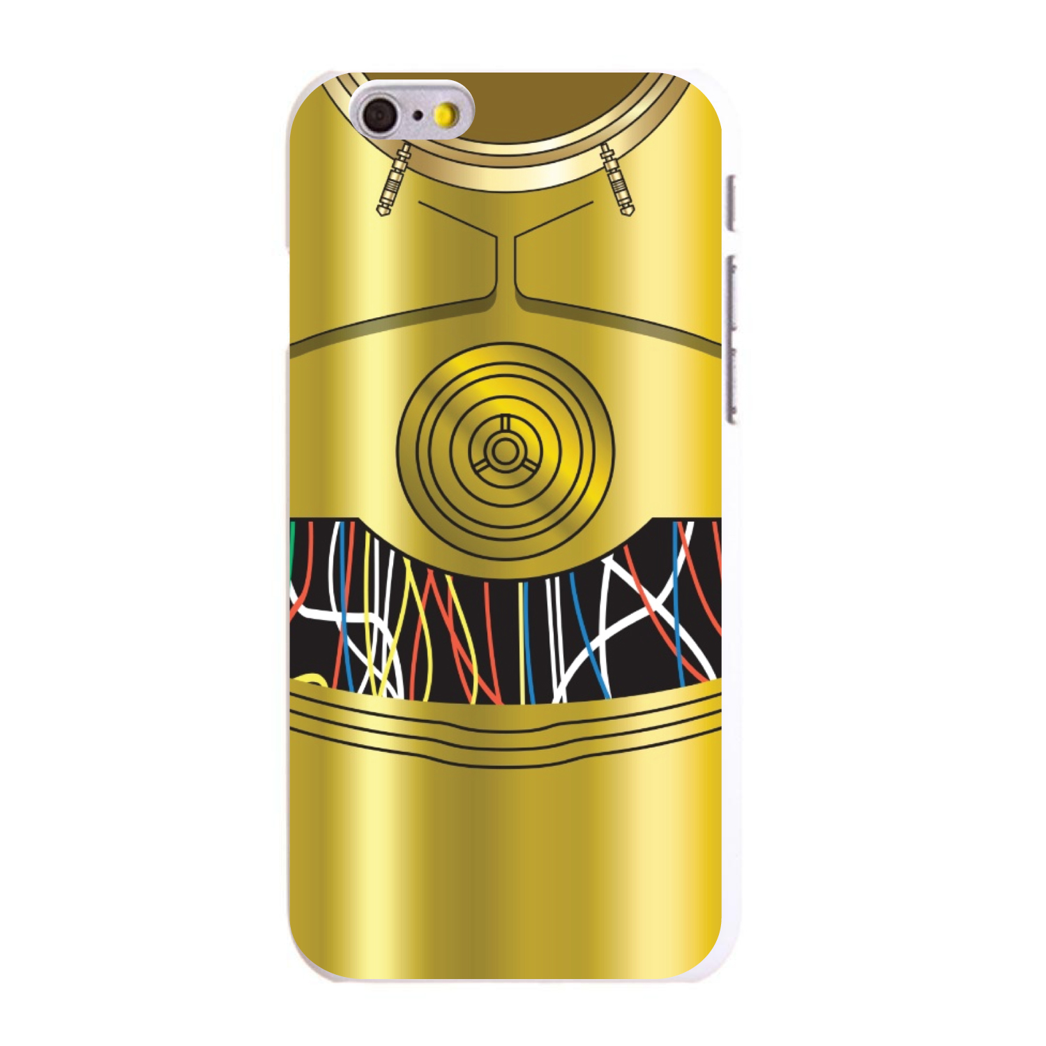 """CUSTOM White Hard Plastic Snap-On Case for Apple iPhone 6 PLUS / 6S PLUS (5.5"""" Screen) - C3PO-inspired gold with wires"""