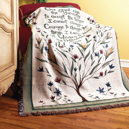 Manual Woodworkers & Weavers Serenity Prayer Tapestry Cotton Throw