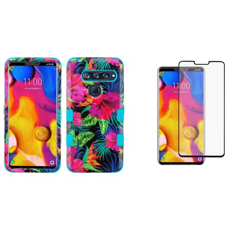 Bemz Accessory Bundle Designed for LG V40 ThinQ - TUFF Hybrid Case (Pink Tropical Flowers) with Tempered Glass Screen Protector and Atom Cloth for LG V40 ThinQ